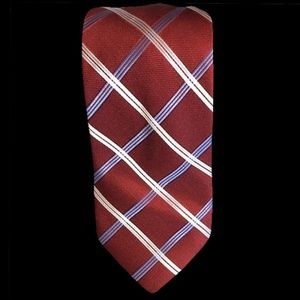NAUTICA Men's Red, White & Blue 100% Silk Tie